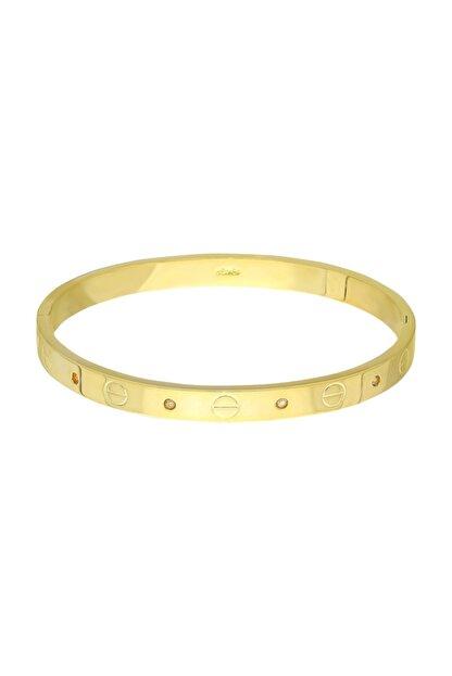 Chavin Kadın Altın Kelepçe Dizayn Taşlı Bileklik Du22sr