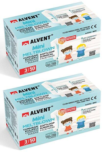 ALVENT Çocuklar Için Yumuşak Kulaklı Meltblown Maske - 100 Adet ( En Az %98 Koruma - Sertifikalı )- Beyaz