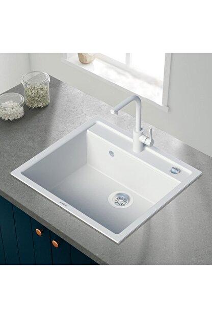 Vıvıano     1 Göz Beyaz 50x56 Cm Granit Evye + Batarya + Otomatik Tuşlu Sifon
