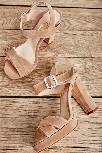 Bambi Krem Süet Kadın Klasik Topuklu Ayakkabı L0501407365