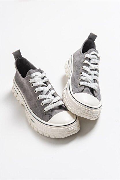 LuviShoes 1453 Gri Süet Kadın Spor Ayakkabı