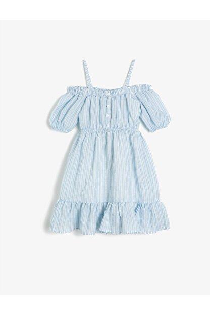 Koton Kız Çocuk Mavi Askılı Kısa Kollu Düğme Detaylı Çizgili Elbise