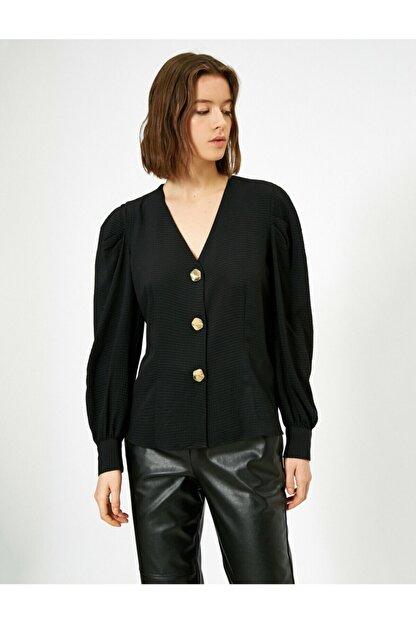 Koton V Yaka Dügme Detayli Bluz