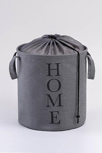 Ocean Home Gri Renk, Baskılı Çok Amaçlı Sepet // 36x40