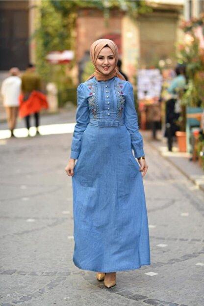 Modamihram Fiyonk Detaylı Nakışlı Tesettür Elbise Açık Kot
