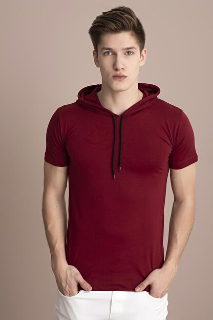 Tena Moda Erkek Bordo Kapüşonlu Düz Tişört