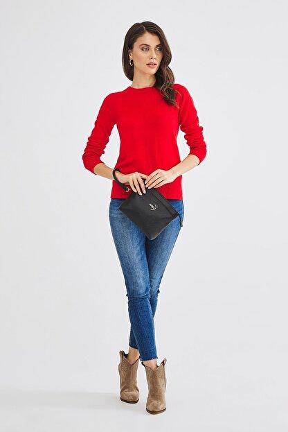 Deri Company Kadın Basic Clutch Çanta Düz Desenli Logolu Siyah (4010s) 214009