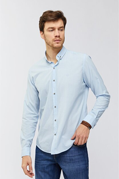 Avva Erkek Açık Mavi Düz Düğmeli Yaka Slim Fit Uzun Kol Vual Gömlek A91s2206
