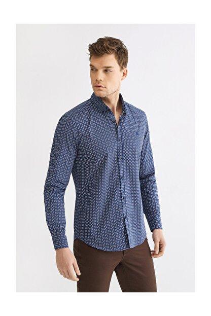 Avva Erkek Lacivert Baskılı Düğmeli Yaka Slim Fit Gömlek A92y2196