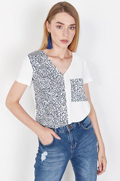 Lafaba Kadın Beyaz Cepli Baskılı Bluz