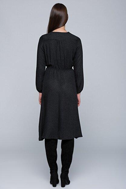 Cotton Mood 7432424 Beli Lastikli Kruvaze Uzun Kol Elbise Sıyah