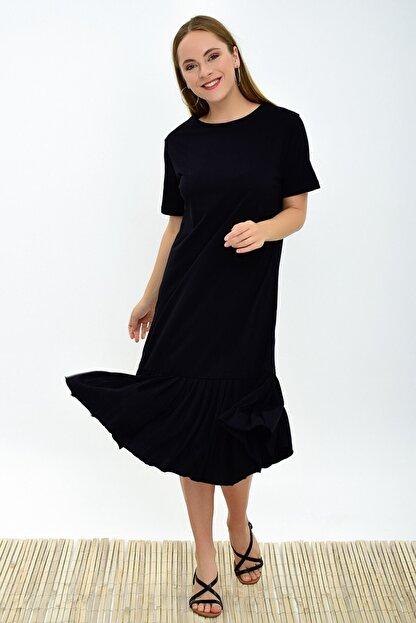 Cotton Mood 9303044 Süprem Eteği Pliseli Kısa Kol Elbise Sıyah