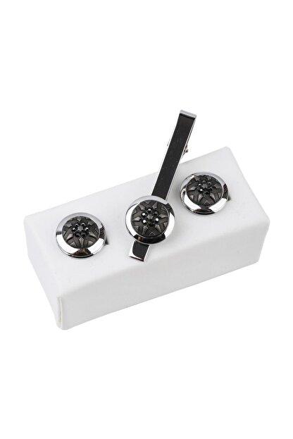 Kravatkolik Gümüş Renk Kol Düğmesi Ve Kravat Iğnesi Set Kd972