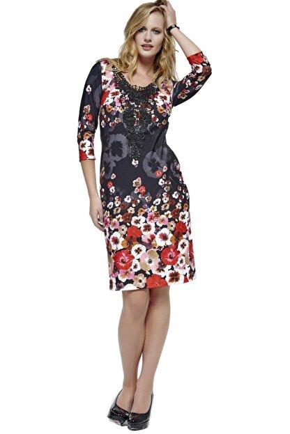 Dodona 2761 Çiçek Desenli Şık Kışlık Triko Şık Kışlık Elbise