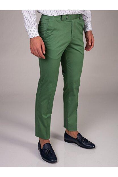 Dufy Yeşil Düz Sık Dokuma Erkek Pantolon - Slım Fıt