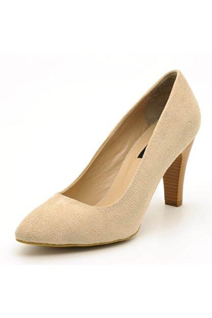 İriadam 1923 Bej Suet Topuklu Büyük Numara Kadın Ayakkabıları