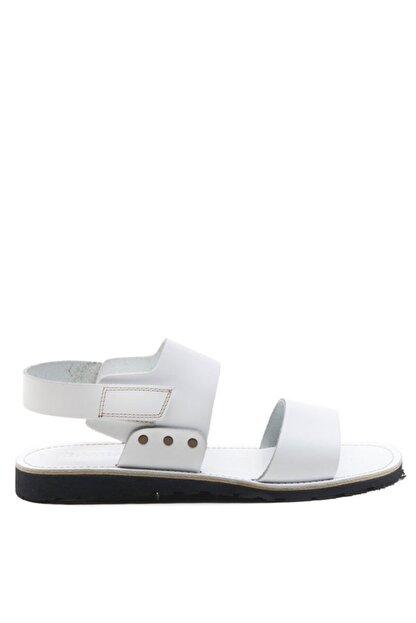 Bulldozer 201772 Beyaz Erkek Deri Sandalet