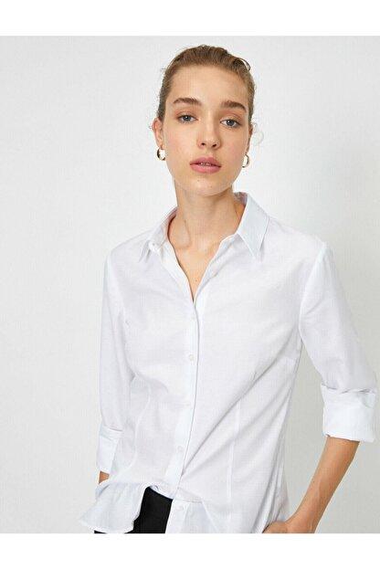 Koton Kadın Beyaz Klasik Yaka Gömlek