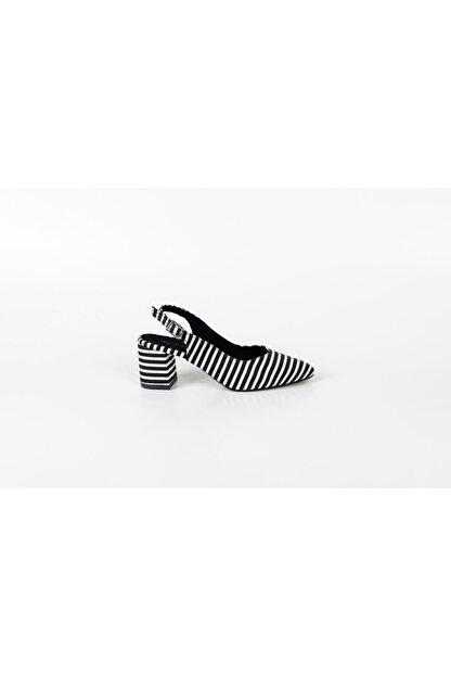 Park Moda Pm101 K921 Çizgili Arkası Açık Yazlık Ayakkabı Bayan