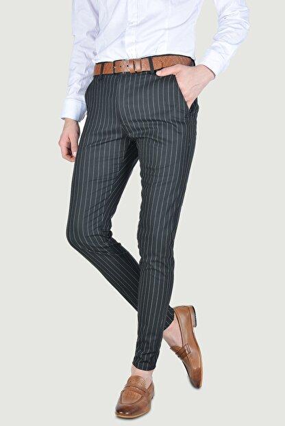 Terapi Men Erkek Çizgi Desenli Slim Fit Keten Pantolon 20y-2200269 Siyah