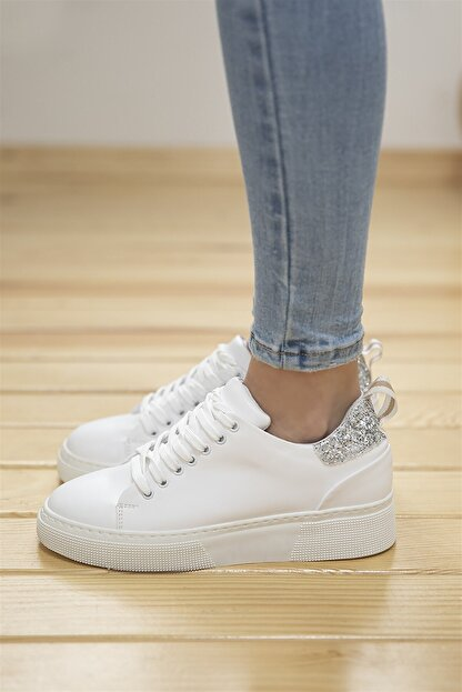 Straswans Papel Bayan Deri Cam Kırık Detaylı Spor Ayakkabı Beyaz-gümüş