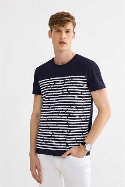 Avva Erkek Lacivert Bisiklet Yaka Çizgi Baskılı T-shirt A01s1261