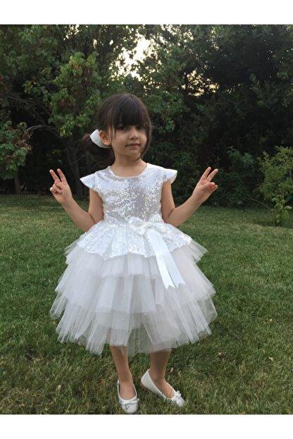 Buse&Eylül Bebe Beyaz Pul Payet Kız Çocuk Elbisesi