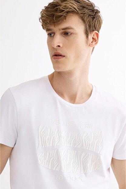 Avva Erkek Beyaz Bisiklet Yaka Baskılı T-shirt A01y1020