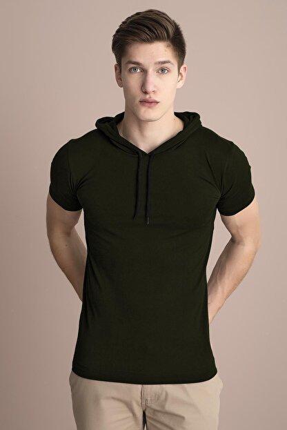 Tena Moda Erkek Haki Kapüşonlu Düz Tişört