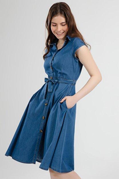 Pattaya Kadın Kuşaklı Kısa Kollu Kloş Gömlek Elbise Y20s110-1677