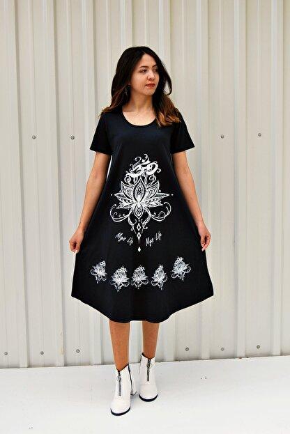 MGS LİFE Kadın Koyu Lacivert Kısa Kollu Çiçek Baskılı Çan Etek Elbise