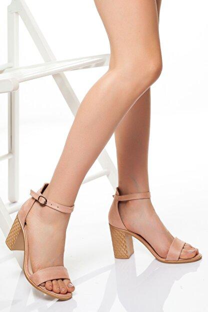 derithy Kadın Pudra Süet Klasik Topuklu Ayakkabı