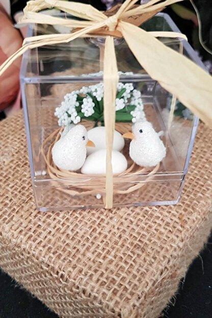Gulertasarim Çifte Kumru Kuş Mika Kuşlar Kuş Kafesi Söz Kina Nikah Şekeri Bebek Şekeri Hediyelik Paket 30 Adet