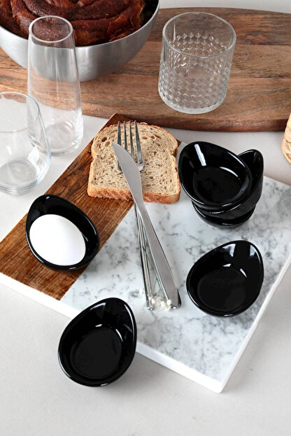 Keramika Siyah Mini Gondol Çerezlik / Sosluk 8 Cm 6 Adet