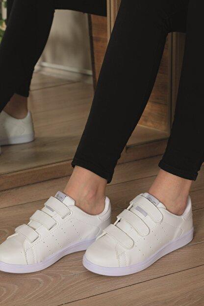 AlbiShoes Unisex Cırtlı Beyaz Sneaker - Bcc75