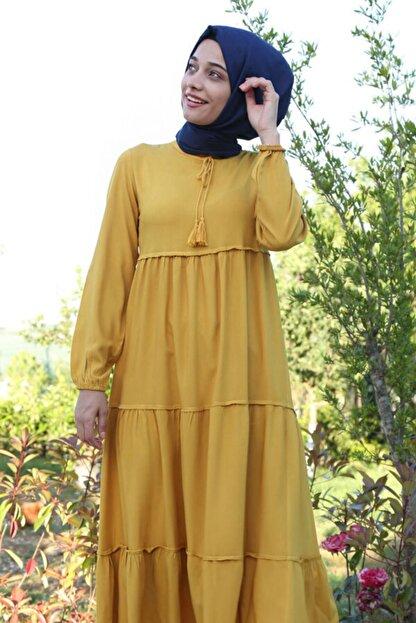 Bigdart Kadın Sarı Yaka Bağcıklı Tesettür Elbise 1627