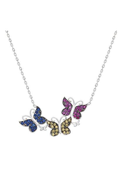Chavin Bahar Kelebekleri Zirkon Taşlı Gümüş Kolye Dz51by