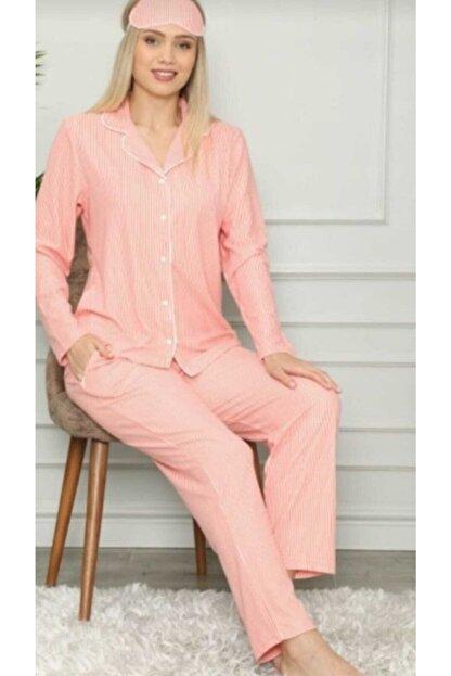 Pijamoni Kadın Pembe Süet Düğmeli Gömlek Yaka Çizgili  Pijama Takım