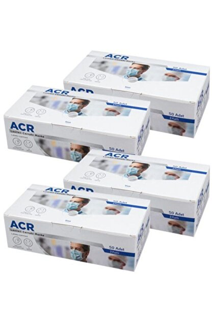 Acr Üretici Firma (mavi) 3 Katlı Medikal Yüz Maskesi - 200 Adet 4 Kutu