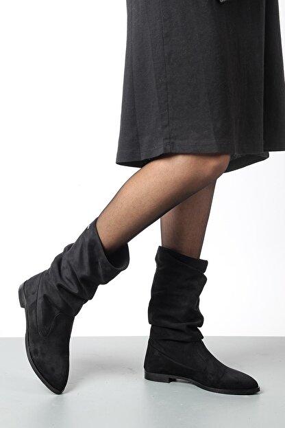 Gökhan Talay Siyah Süet Kadın Günlük Çizme