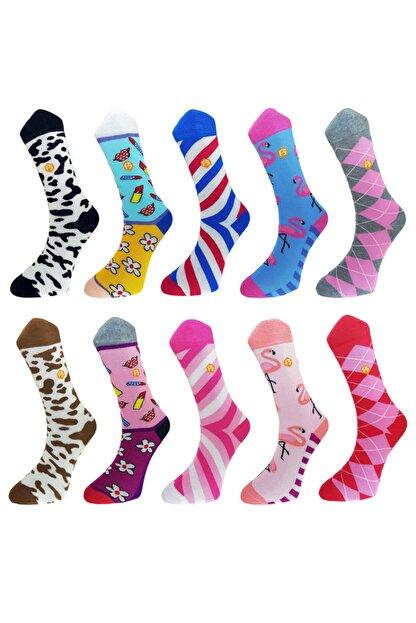 Mugan Kadın Renkli Günlük Desenli Pamuk Dikişsiz 10 Çift Çorap