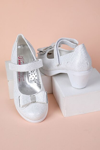 epaavm Topuklu Kendinden Simli Kız Çocuk Ayakkabı