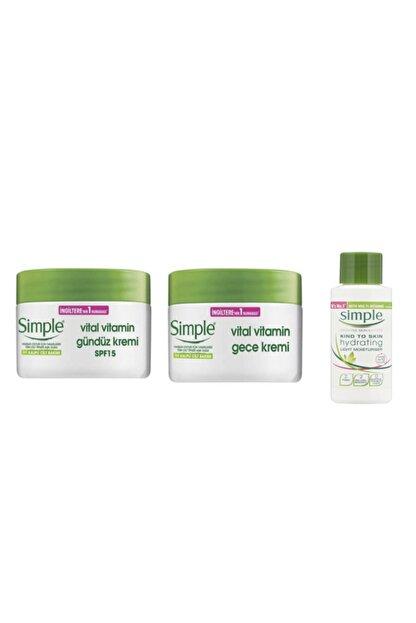 Simple Vitamin Gece Kremi50 ml + Gündüz Kremi 50 ml + Su Bazlı Nemlendirici 50 ml