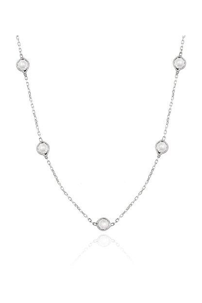 Chavin Kadın Tiffany Sıra Taşlı Uzun Zincir Gümüş Kolye Db73