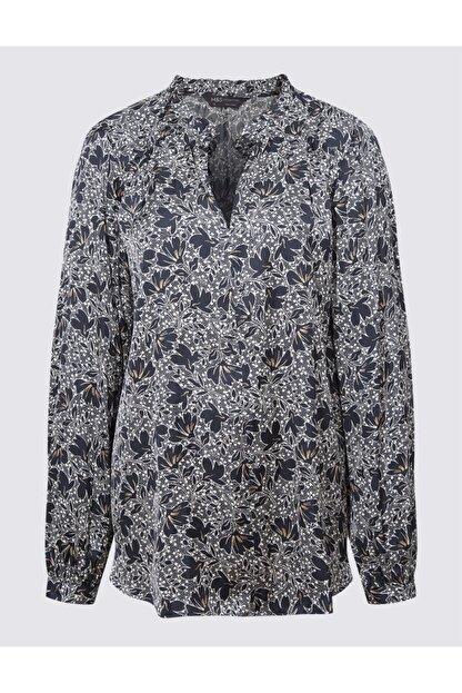Marks & Spencer Kadın Lacivert Desenli Uzun Kollu Bluz T43003268