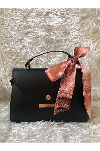 bag&more Kadın Siyah Fularlı Askılı Çanta