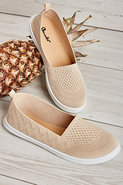 Bambi Bej Triko Kadın Sneaker L0543401082