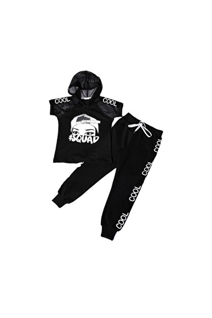 NANİCA N220610-syh Cool Baskılı Kapşonlu Body Alt Kız Çocuk Takım-siyah