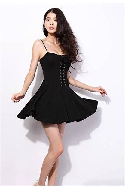 lovebox Esnek Dalgıç Kumaş Önden Bağcık Detaylı Askılı Siyah Kiloş Elbise