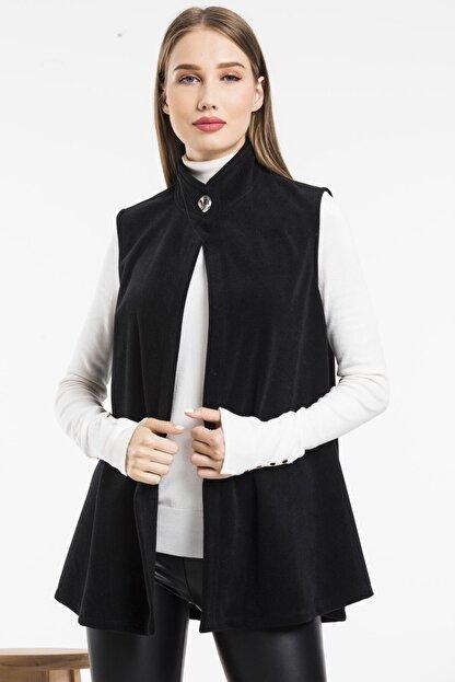 Balo Moda Kadın Siyah Softshell Yelek